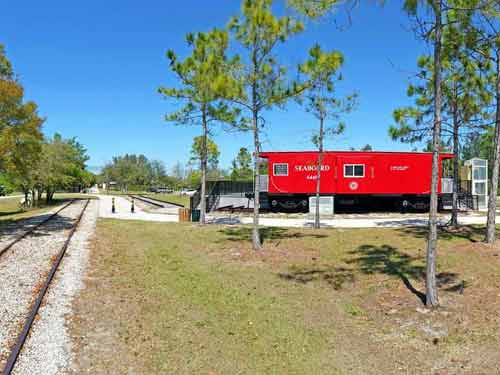 red caboose on the venice legacy trail